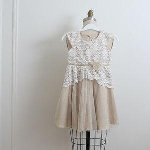 Jona Michelle Gold/tan Lace flower girl dress sz 7